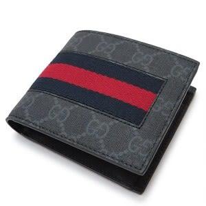 【雪曼國際精品】GUCCI 408827-KHN4N-1095 GG Supreme系列GG印花藍紅藍織帶折疊灰色8卡短夾-預購款