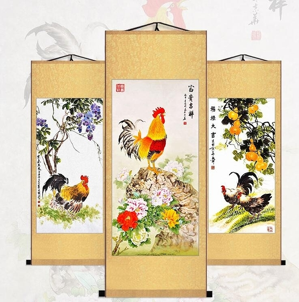 金雞報曉 富貴吉祥如意 太陽公雞母雞 絲綢捲軸掛畫 已裝裱