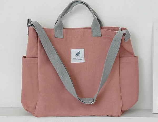 【帆布包】純棉 撞色橫款 帆布袋 側背包 肩背包 斜跨包/肩背+手提+斜跨/藕粉