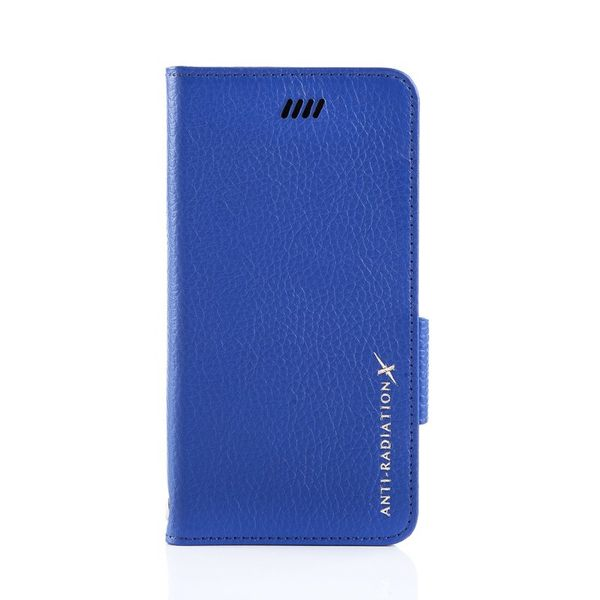 X-SHELL IPHONE 6 plus/6s plus 防電磁波真皮手機皮套 (荔枝紋 寶石藍)