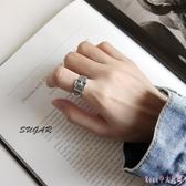 情人節禮物男女款情侶對戒日式輕奢小眾設計皮帶扣925純銀戒指 DR25684【Rose中大尺碼】