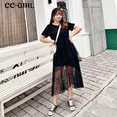 中大尺碼 黑色拼接紗裙洋裝 - 適XL~4L《 68188 HH》CC-GIRL