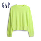 Gap女裝 棉質落肩袖休閒上衣 544873-活力螢光綠