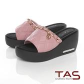 TAS金屬飾鍊牛皮楔型拖鞋-迷人粉