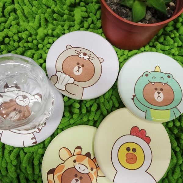 【買1送1】LINE獨家授權 JUNGLE叢林彩繪珪藻土吸水杯墊 (一組2入同款式) 地墊杯墊桌墊腳踏墊