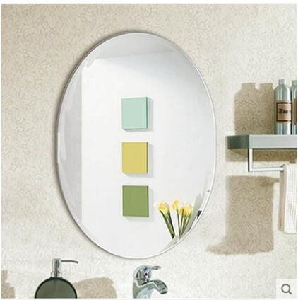 壁掛圓鏡橢圓浴室鏡衛生間免打孔洗手間廁所貼牆化妝臺鏡定製鏡子【50*70】