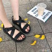 平底涼鞋女韓版學生港味交叉帶涼鞋女夏平底羅馬果凍沙灘涼鞋  【熱賣新品】