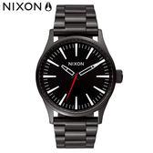 NIXON 手錶 原廠總代理A450-005 The Sentry 38 SS 黑色 潮流時尚鋼錶帶 男女 運動 生日情人節禮物
