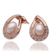 耳環 純銀鍍18K金珍珠-鑲鑽百搭生日情人節禮物女飾品73cg9[時尚巴黎]