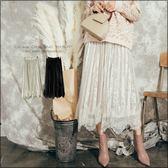 URES 復古透紗蕾絲雙層金絲絨百摺中長裙 小予直播穿搭款/小貓購物清單【881016067】