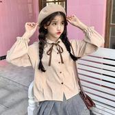 女裝韓版小清新燈芯絨蝴蝶結繫帶長袖襯衫上衣學生打底衫襯衣   俏女孩