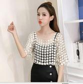 韓版新款雪紡吊帶上衣兩件套蕾絲鏤空網紗上衣性感氣質套頭罩衫潮 溫暖享家