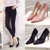 2018新款 尖頭高跟鞋超細跟 黑色公主鞋10cm絨面淺口工作鞋單鞋女 LL900『美鞋公社』
