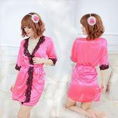 女衣性感低胸玫紅浴袍女衣日系浴衣和服情趣內睡衣