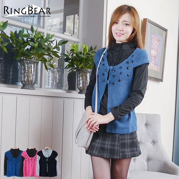 高領--秀麗甜美氣質兩件式寶石綴飾荷葉邊高領上衣+罩衫(黑.藍.桃S-XL)-U22眼圈熊中大尺碼