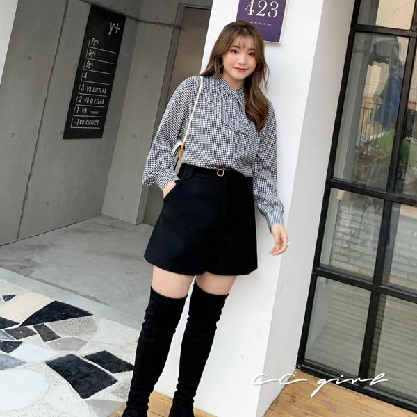 中大尺碼  氣質領帶雪紡襯衫- 共兩款 - 適XL~4L《  69123  》CC-GIRL
