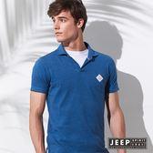 【JEEP】簡約亨利領短袖POLO衫 (藍色)