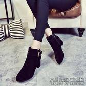 女短靴秋冬季新款高跟女士馬丁靴百搭英倫風女單鞋粗跟女鞋潮
