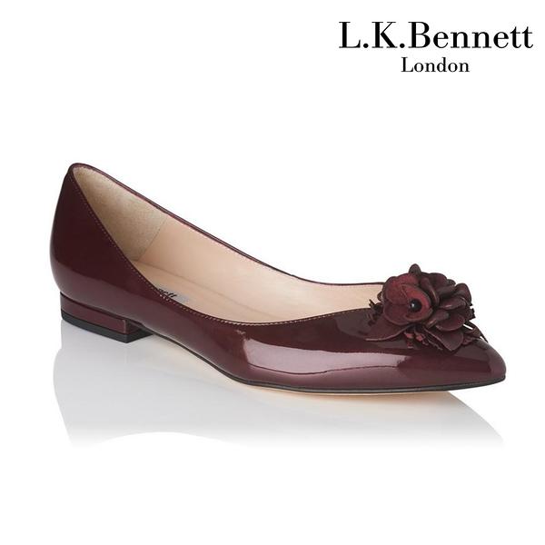 【L.K. BENNETT】凱特王妃珍選 必搭鞋類 POPPIE漆皮花朵造型平底鞋-酒紅 (原廠公司貨)