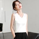 無袖上衣 真絲小吊帶背心女夏桑蠶絲內搭西裝白色寬鬆無袖外穿打底性感上衣 韓國時尚 618