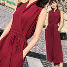V領收腰綁帶無袖連身裙/長洋裝 3色【D927497】