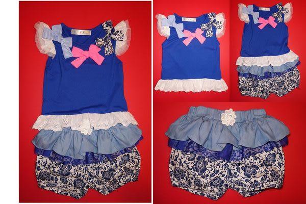 ★童裝大亨★【韓版專區】0297 蝴蝶結蕾絲短袖T+藍色荷葉層次褲套裝 顏色:藍