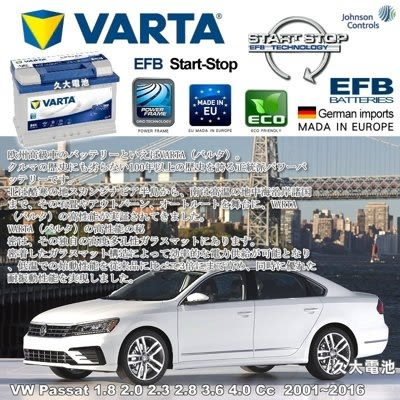 久大電池❚ 德國進口 VARTA E45 EFB 70Ah VW Passat Cc 3.6 4.0 2001~2016