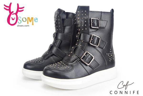 童休閒靴 柳丁靴 側邊拉鍊 CONNIFE 中性靴 運動靴M8023#黑◆OSOME奧森鞋業