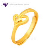 【元大鑽石銀樓】『浪漫來襲』黃金戒指 活動戒圍-純金9999國家標準