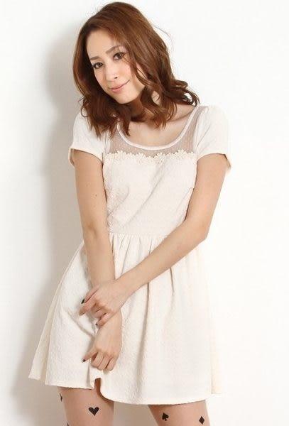 *東京奈奈*日系甜美蕾絲花朵拼接雜誌風連身裙[j05021]