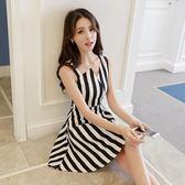 無袖洋裝 韓版夏裝條紋吊帶連身裙子《小師妹》x332
