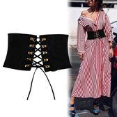 腰封 綁帶腰封繫帶束腰帶寬女士簡約百搭裝飾襯衫配連身裙子黑色潮