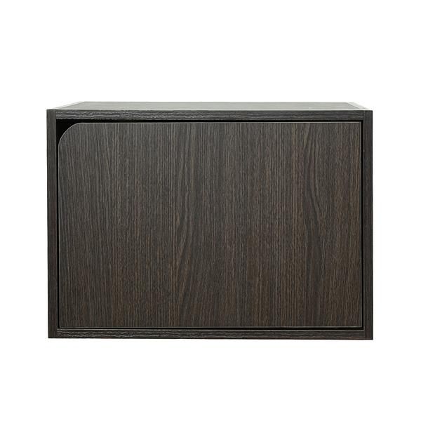 樂嫚妮 堆疊 收納櫃 木門櫃-附門-深胡桃木色