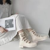 馬丁靴 2020新款靴子女春夏高筒鞋女ins平底鏤空白色馬丁靴女英倫風皮鞋【快速出貨】