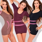 魔法e裳《短袖長版無痕塑身衣》3D超彈力*輕機能可當長版襯裙背心-D014 【現貨】