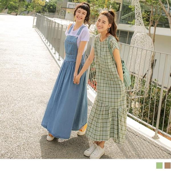 高含棉格紋排釦口袋魚尾短袖長洋裝 OB嚴選《DA8551-》