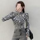 限時特價 港風復古時尚潮流斑馬紋百搭半高圓領打底衫修身顯瘦長袖T恤女潮