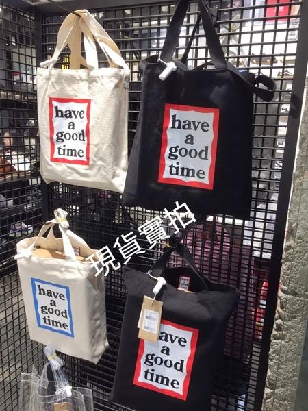 KR正韓- have a good time 透明包 購物袋-黑 H1532