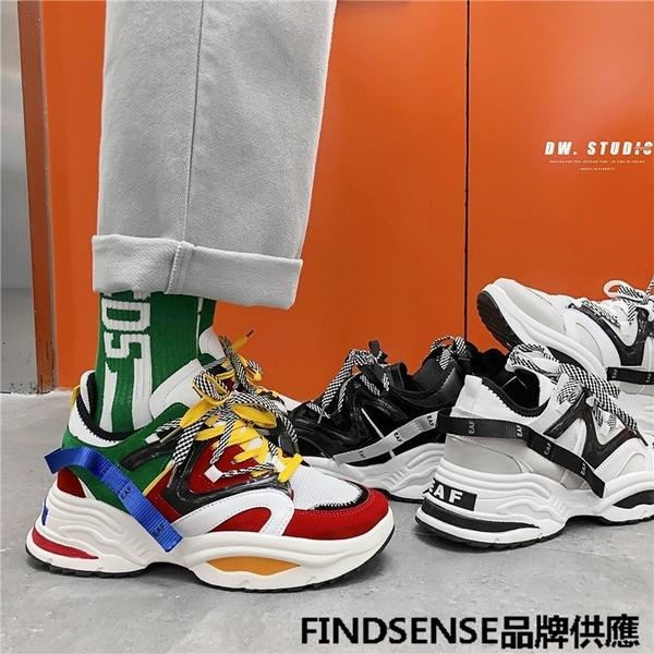 FINDSENSE品牌 四季款 新款 日本 男 高品質 撞色 厚底增高 運動 舒