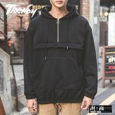 『潮段班』【PD000648】秋冬新款拉鍊口袋造型刷毛長袖連帽上衣T恤帽T