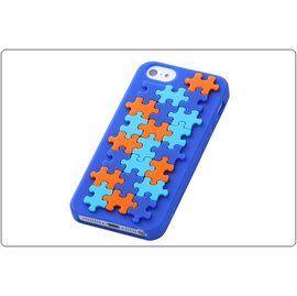 ☆愛思摩比☆Ray-out for iPhone5專用幾何花紋矽膠套《拼圖-藍色》RT-P5C12/PA特價商品恕不退換貨