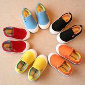 兒童布鞋男童一腳蹬女童寶寶糖果色帆布鞋小童懶人鞋子1-3歲2春秋