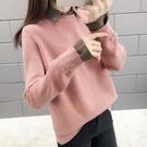 新品上市# 假兩件毛衣女秋冬新款韓版襯衫領寬松打底上衣短款百搭針織衫