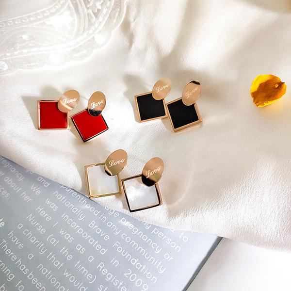 耳環 簡約 幾何 方形 字母 弧形 拼接 甜美 氣質 耳釘 耳環【DD1907071】 BOBI  09/12