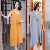 洋裝-V領針織寬鬆中長版無袖背心裙2色/設計家 Q9429
