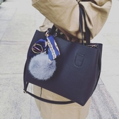 子母手提包-韓系小羊皮荔枝紋復古風大容量毛球吊飾手提肩背方包 附揹袋【AN SHOP】