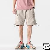 工裝短褲男休閒褲子韓版褲寬鬆中褲沙灘褲【左岸男裝】