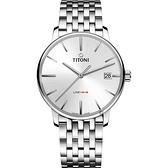 TITONI 梅花錶 LINE1919 百年紀念 T10 機械錶-銀/40mm 83919 S-575