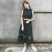 女裝韓版中長款氣質修身鏤空網紗拼接短袖洋裝學生長裙     時尚教主