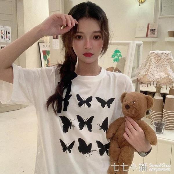 2021年新款韓版夏裝短袖t恤女寬鬆印花時尚設計感小眾打底上衣潮